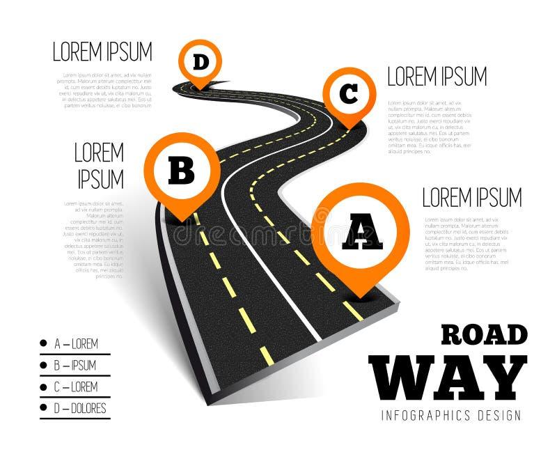 Infographics för design för vägväg stock illustrationer