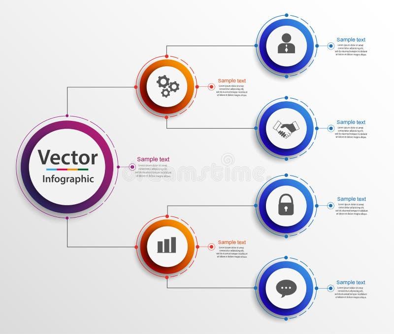 Infographics för diagram för affärshierarkiorganogram Företags diagrambeståndsdelar för organisatorisk struktur royaltyfri illustrationer