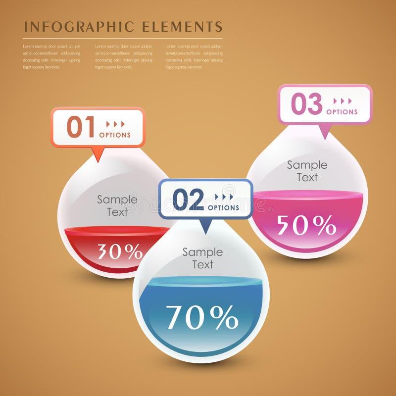 Infographics för droppe 3d för vektor abstrakt vektor illustrationer