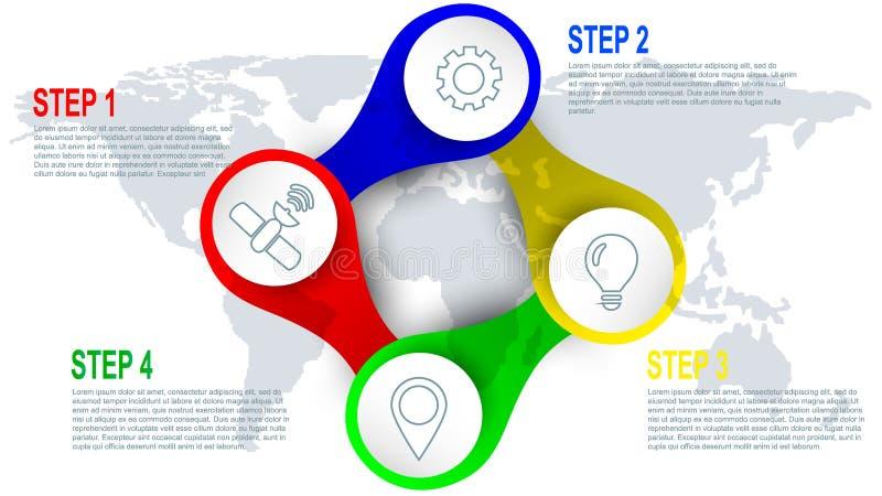 Infographics för fyra moment beståndsdel för rengöringsdukdesign royaltyfri illustrationer