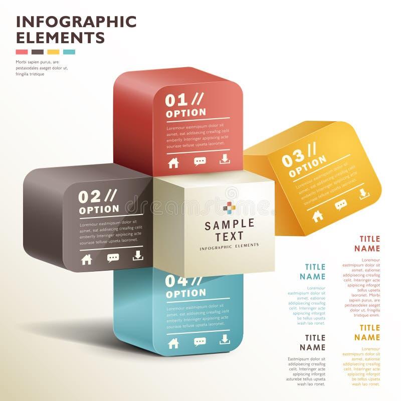 Infographics för kub 3d för vektor abstrakt royaltyfri illustrationer