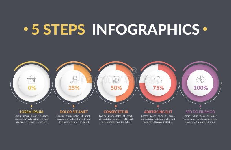 infographics för 5 moment royaltyfri illustrationer