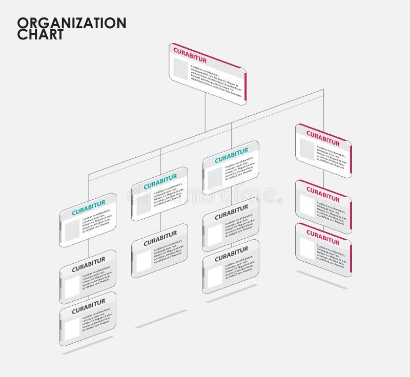 Infographics för organisationsdiagram med trädet, diagramflöde vektor stock illustrationer