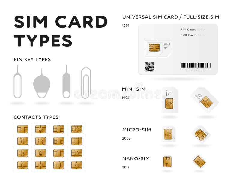 Infographics för SIM-korttyper i plan stil vektor illustrationer