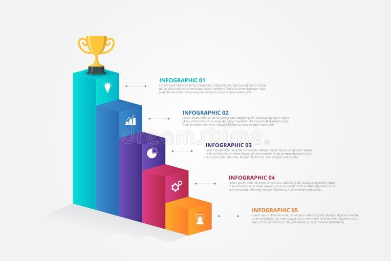 Infographics för trappa 3D mall för affären, utbildning, rengöringsdukdesign, baner, broschyrer, reklamblad stock illustrationer