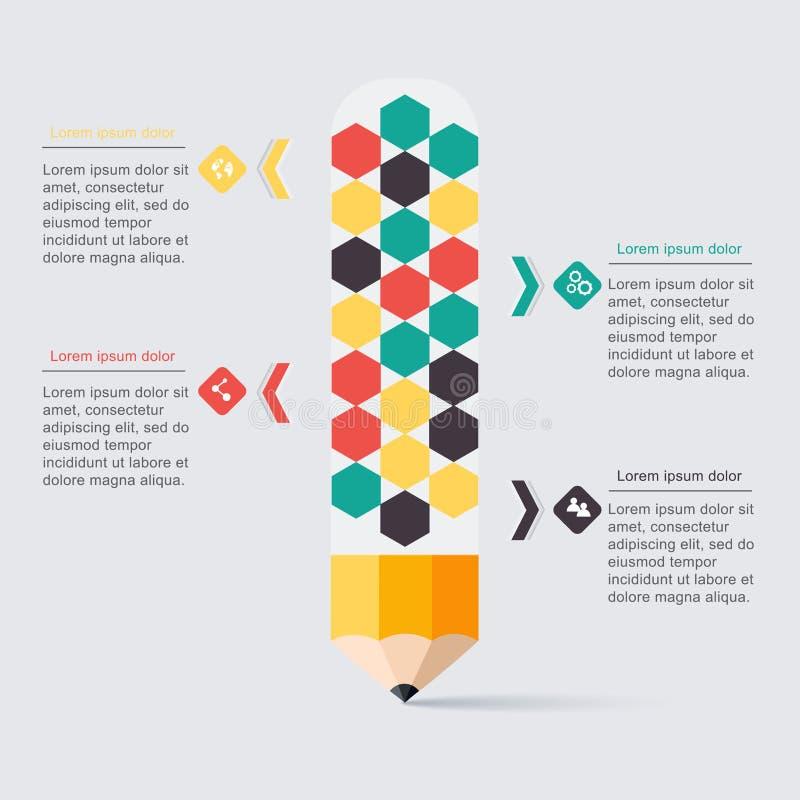 Infographics för trappuppgång för affärsutbildningsblyertspenna alternativ vektor royaltyfri illustrationer
