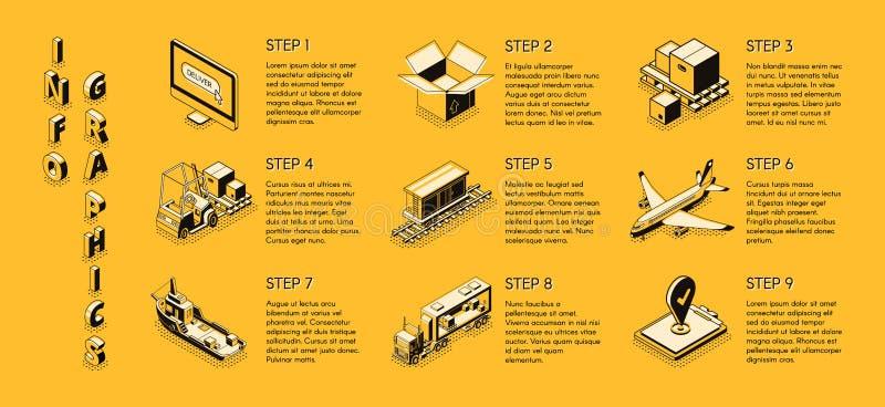Infographics för vektor för leveransföretag isometrisk vektor illustrationer