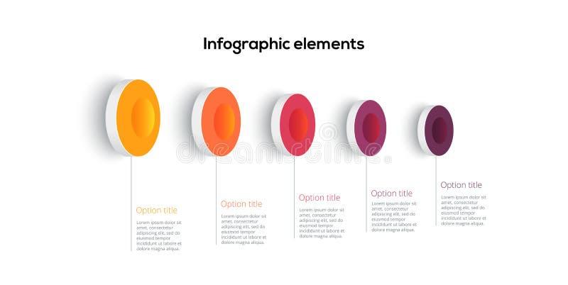 Infographics f?r aff?rsprocessdiagram med 5 momentcirklar Runda f?retags workflowdiagrambest?ndsdelar E vektor illustrationer