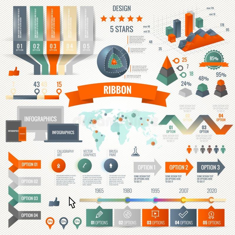 Infographics fijó con opciones Estilo de la papiroflexia del círculo de los iconos y de las cartas del negocio Ilustración del ve stock de ilustración