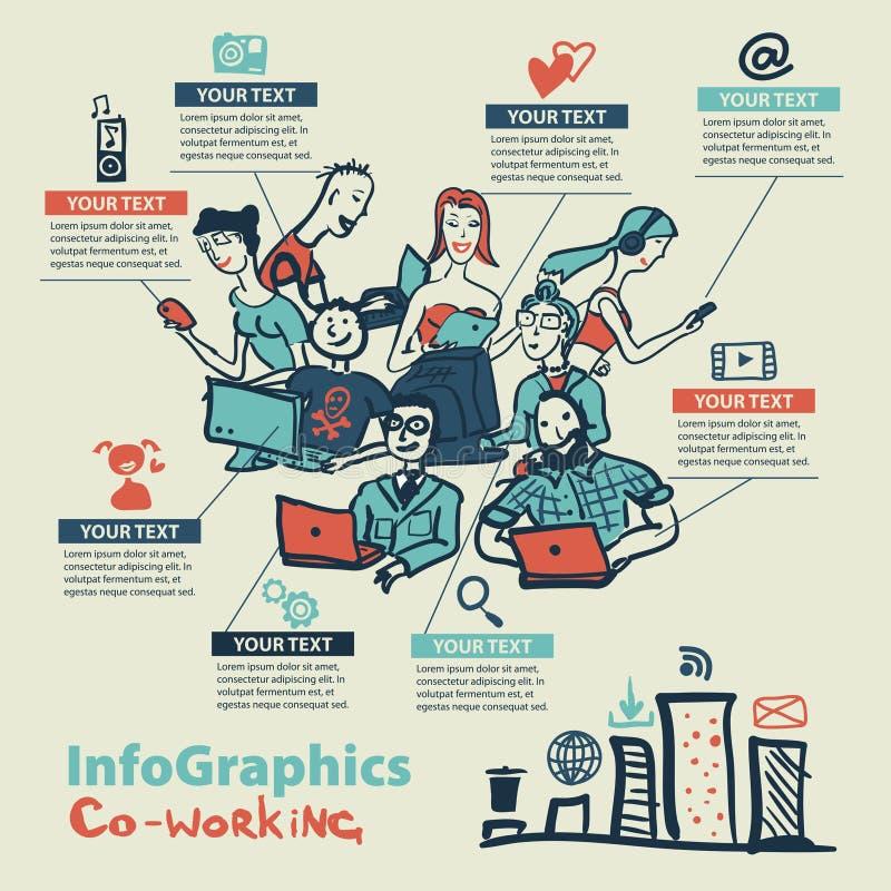 Infographics fijó en el estilo de un bosquejo de Internet global stock de ilustración