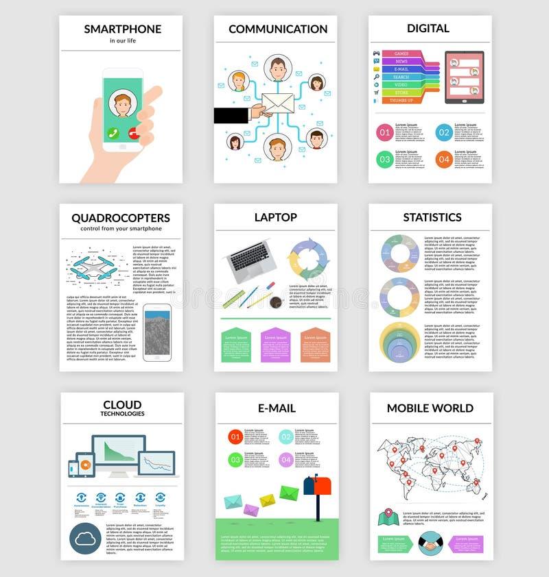 Infographics fijó en estilo plano sobre el smartphone, digital, comunicación ilustración del vector