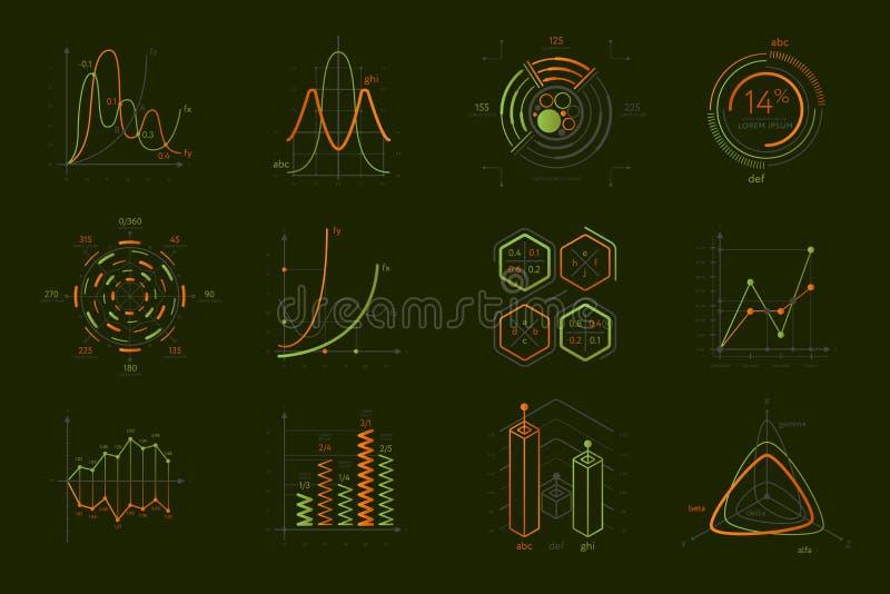 Infographics fijó para la presentación del negocio stock de ilustración