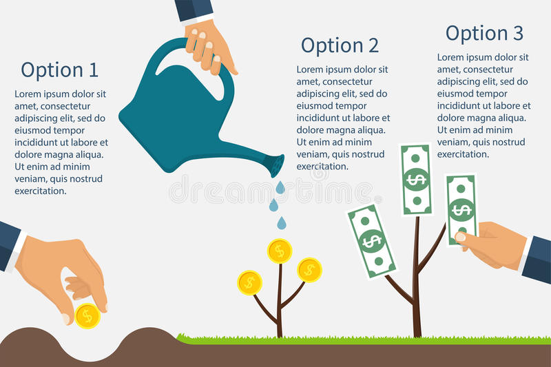Infographics financial profit growth. Growth process money. Business start-up. Monetary contributions. Business development revenue. Business metaphor. Earning royalty free illustration