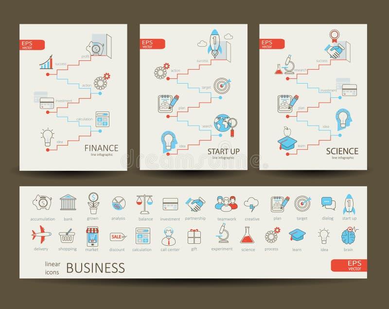 Infographics finanse, nauka, rozpoczęcie, biznes royalty ilustracja