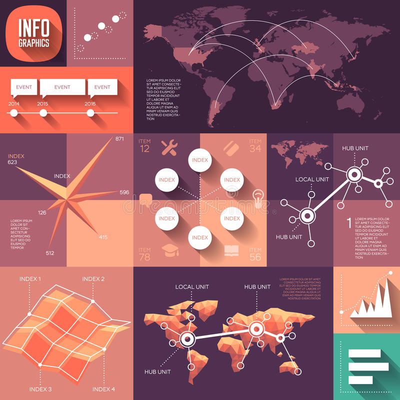 Infographics of flat design with long shadows royalty free illustration