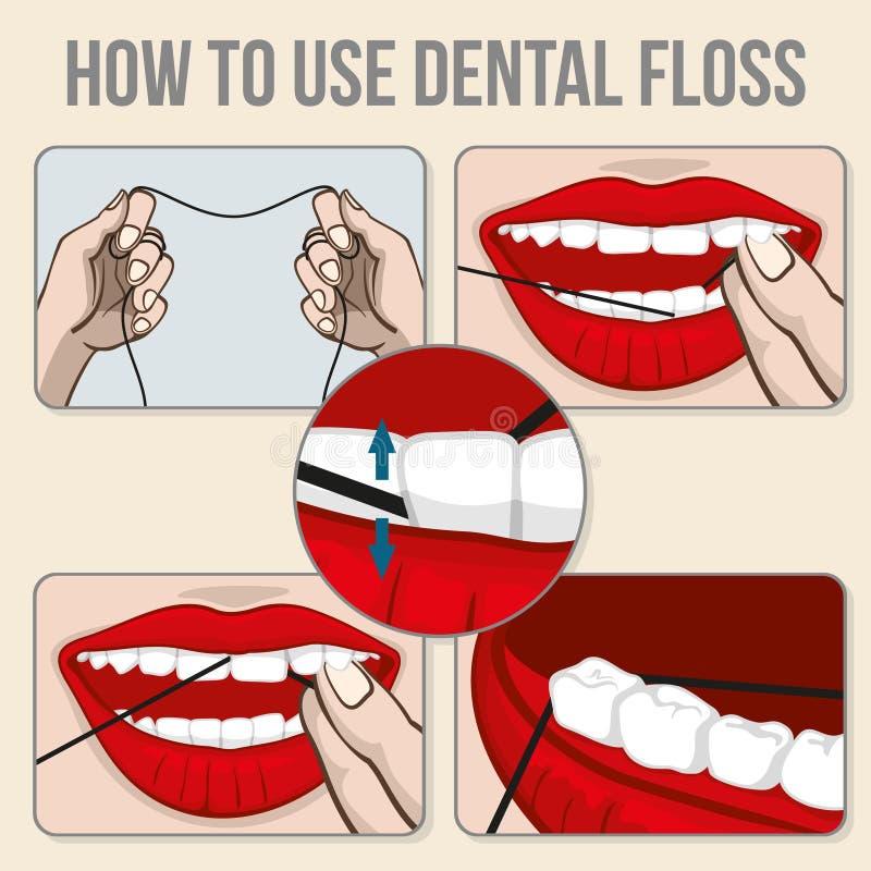 Infographics Flossing di vettore dei denti illustrazione vettoriale