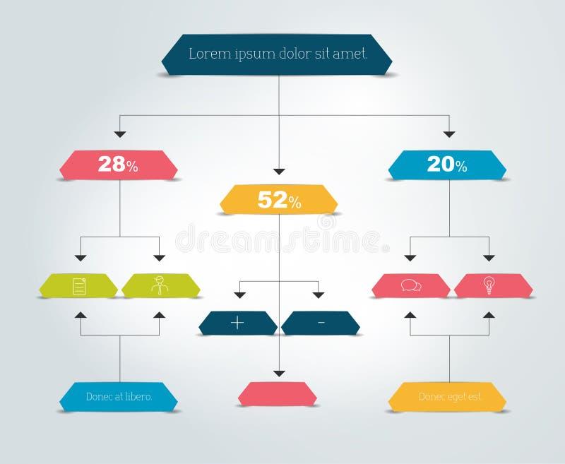 Infographics flow chart. Colored shadows scheme vector illustration