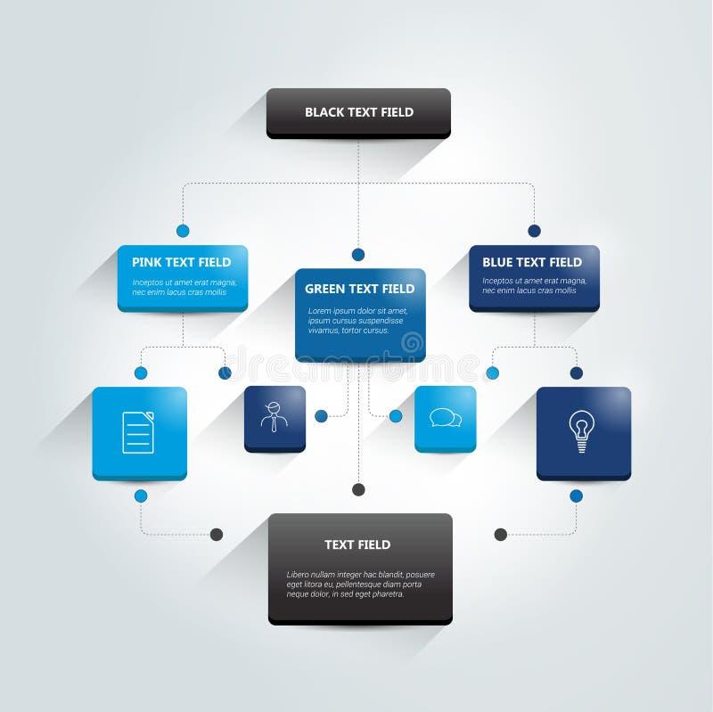 Infographics flowchart Barwiony cienia plan ilustracja wektor