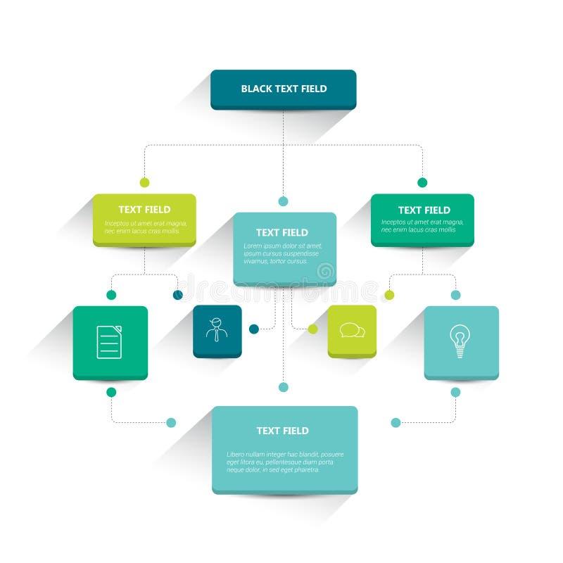 Infographics flowchart. Colored shadows scheme stock illustration