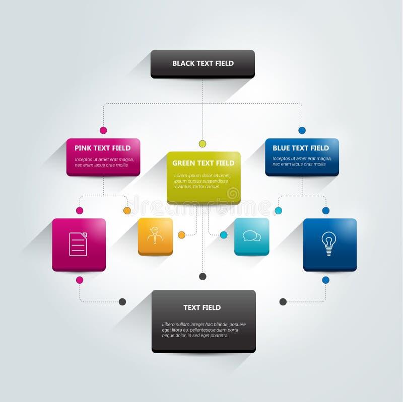 Infographics flowchart. Colored shadows scheme vector illustration