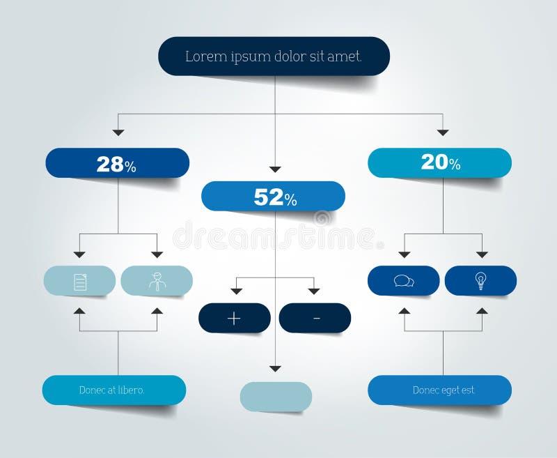 Infographics flowchart. Colored shadows scheme. Vector illustration stock illustration