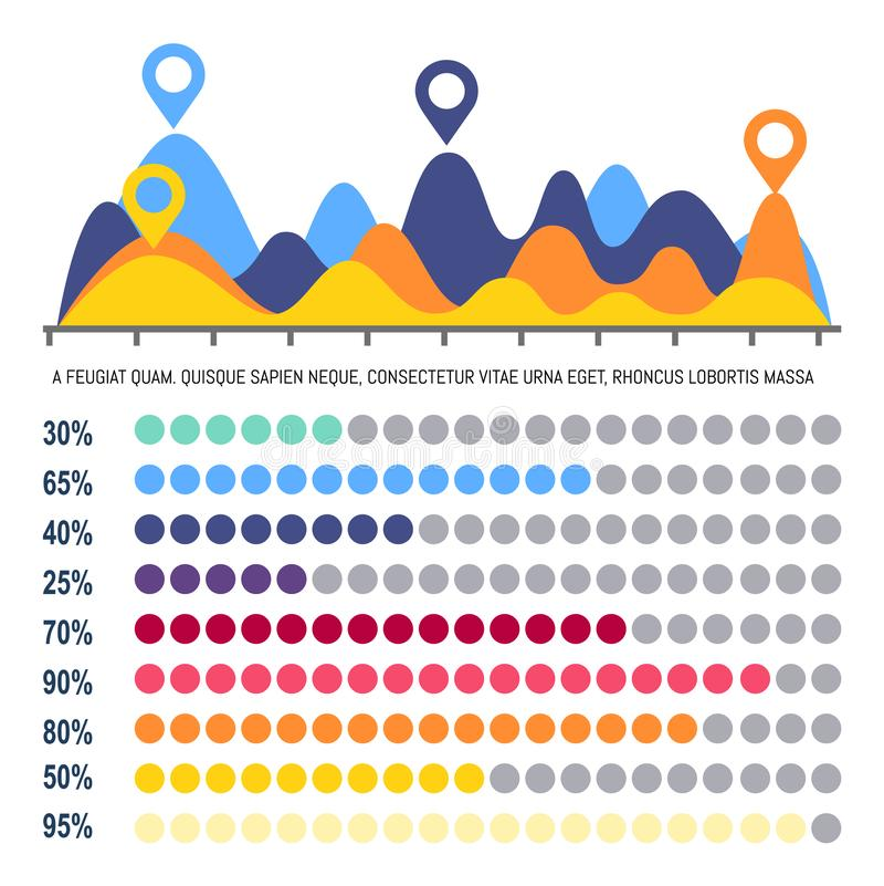 Infographics Flowchart with Percentage Information. Vector. Chart with location pointer on peak of statistics data. Analysis with percents info in color stock illustration