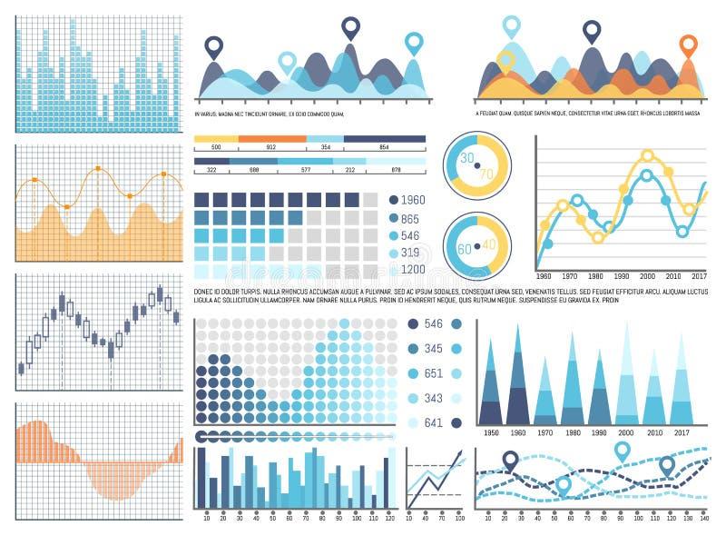 Infographics and Flowcharts, Pie Diagrams Set stock illustration