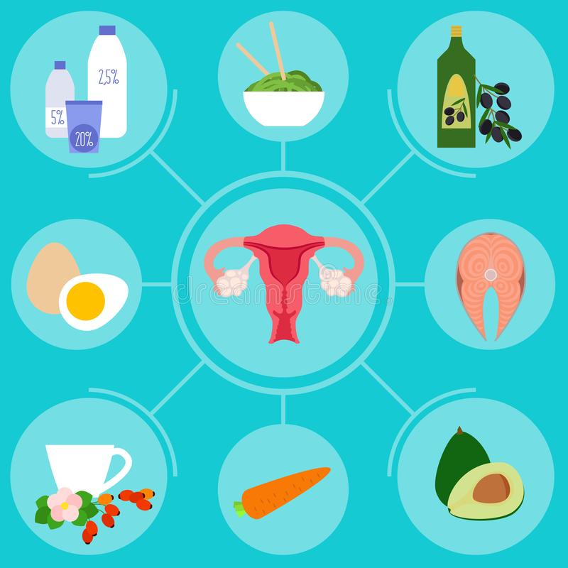 Infographics with foods for female reproductive system health stock illustration