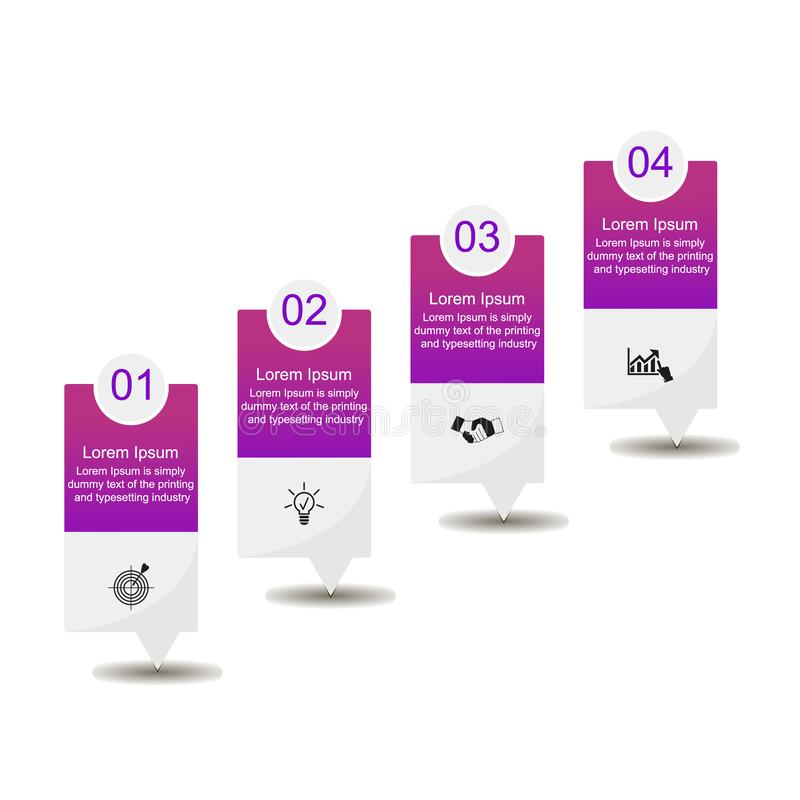 Infographics four steps. Business data visualization, infographics. Scheme of the process of elements with the help of graphics, diagrams of rectangles purple stock illustration