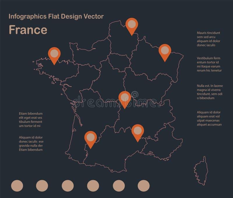 Infographics France map outline, flat design, color blue orange stock illustration
