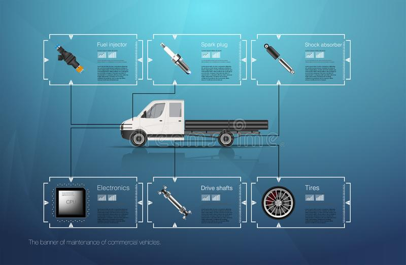 Infographics of freight transport and transportation.Template of automobile infographics. Abstract virtual graphic touch user inte vector illustration