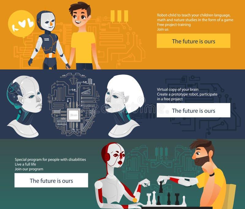 Infographics futurista dos robôs do vetor, bandeiras ajustadas ilustração do vetor