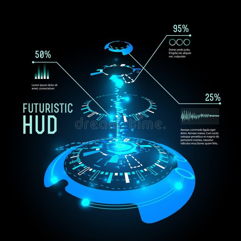 Infographics futuriste d'interface, HUD, fond de vecteur illustration stock