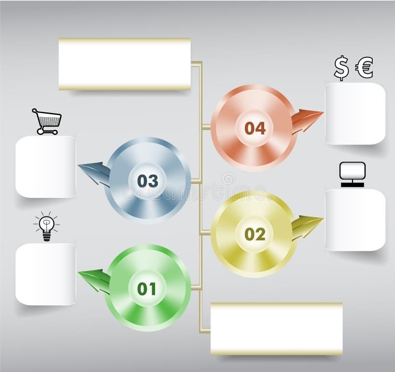 Infographics geleidelijk malplaatje met document blocnotes, metaalschijven, pictogrammen en pijlen royalty-vrije illustratie