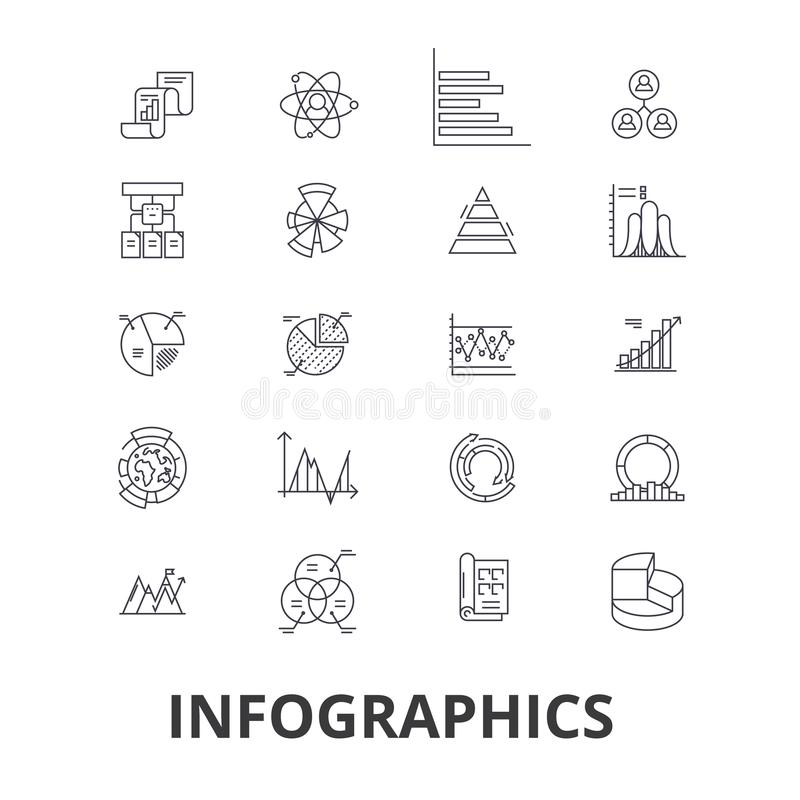 Infographics, gráfico, información, elementos, flecha, cartas, cronología, línea iconos del beneficio Movimientos Editable Diseño stock de ilustración