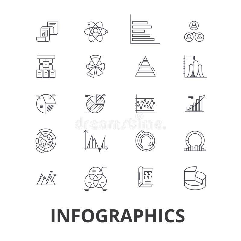 Infographics graf, information, beståndsdelar, pil, diagram, timeline, vinstlinje symboler Redigerbara slaglängder Plan design stock illustrationer