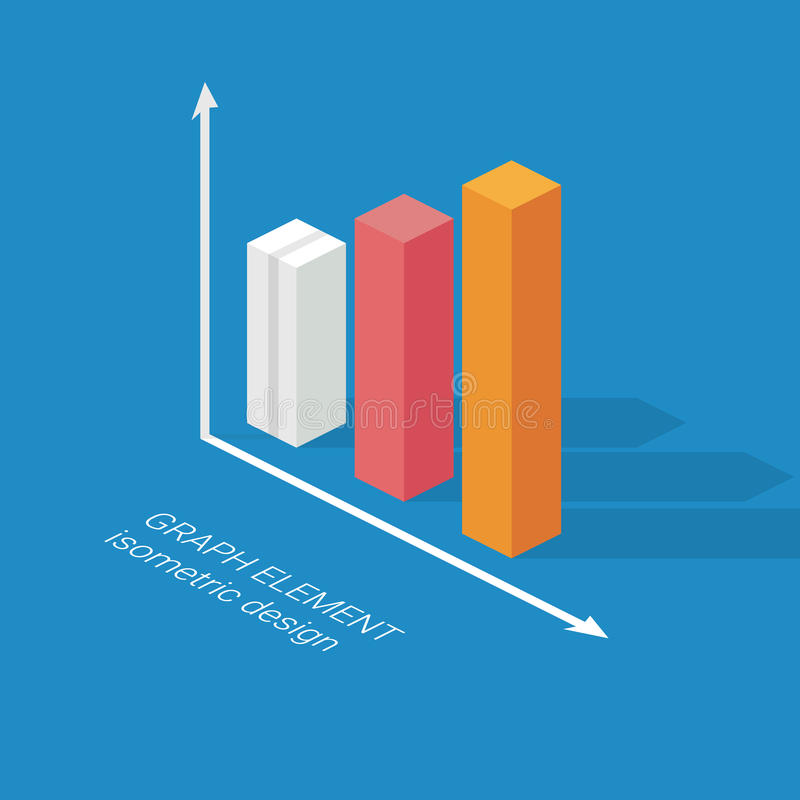 Infographics graph element. Isometric design chart stock illustration