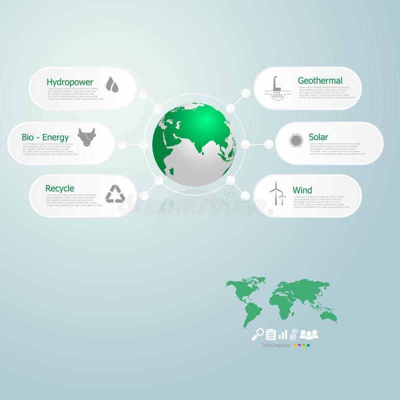 Infographics of green energy in the world royalty free illustration