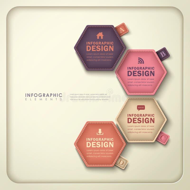 Infographics hexagonal abstracto de la etiqueta stock de ilustración