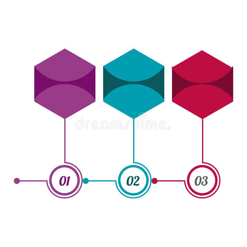 Infographics hexagons with icons. In the figure infographics on three steps, in the form of hexagons, with icons on a light background. Infographics for site vector illustration