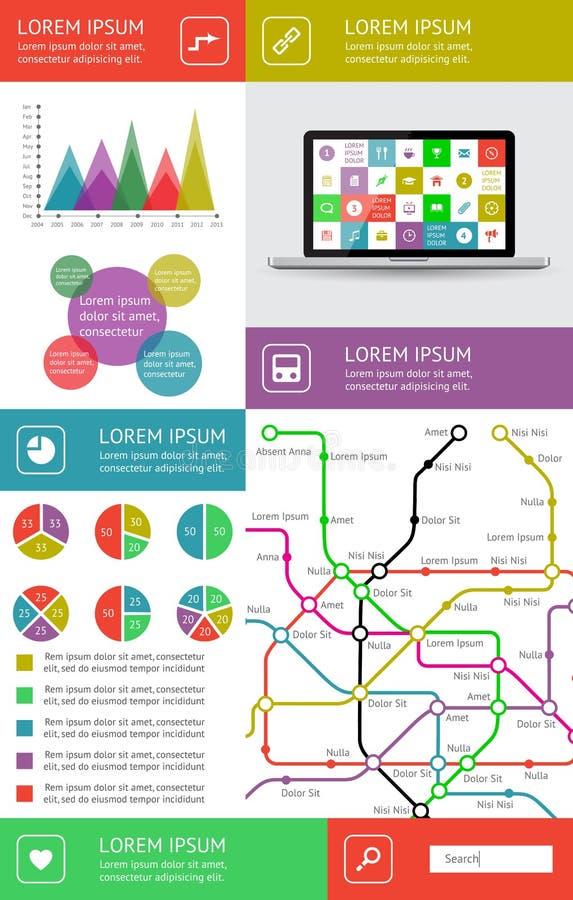 Infographics I Sieć Elementy Obrazy Royalty Free