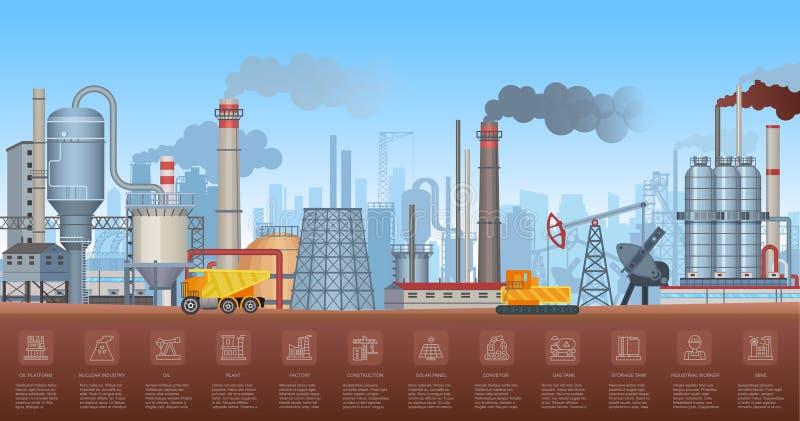 Infographics industrial con las fábricas y las plantas y las cartas de los símbolos de los iconos Ejemplo de la industria del vec ilustración del vector