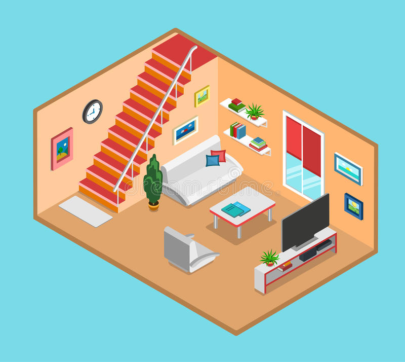 Infographics interior da Web da sala de visitas isométrica lisa do vetor 3d ilustração do vetor
