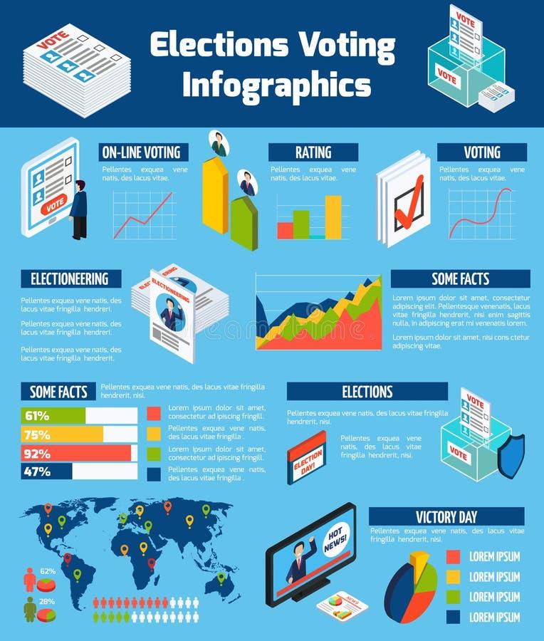 Infographics isométrico de las elecciones y de la votación stock de ilustración