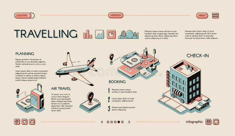 Infographics isométrico de viagem do vetor dos serviços ilustração do vetor