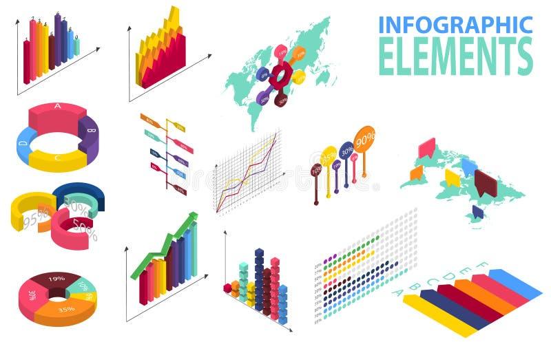 Infographics isométrico del estilo con los iconos de los datos, las cartas del mapa del mundo y los elementos del diseño ilustración del vector