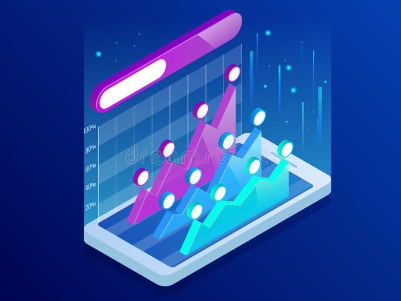 Infographics isométrico dentro del smartphone, análisis de tendencia del negocio en la pantalla con los gráficos, perspectiva del stock de ilustración