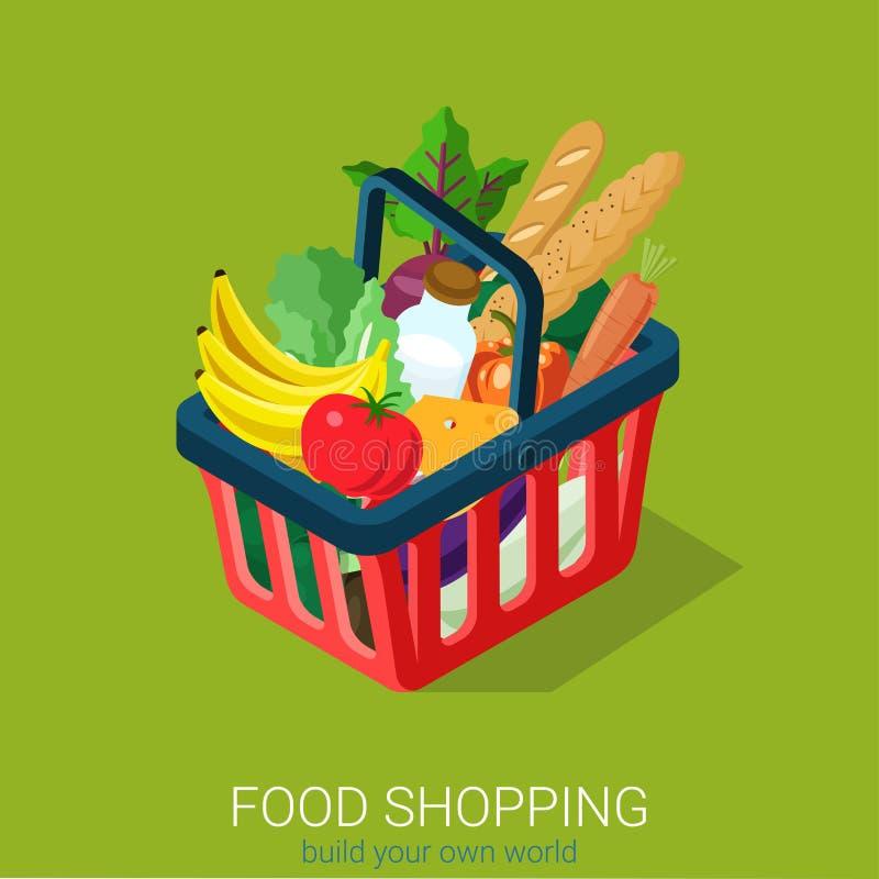 Infographics isométrico liso da Web das compras na mercearia do alimento 3d: carro ilustração stock