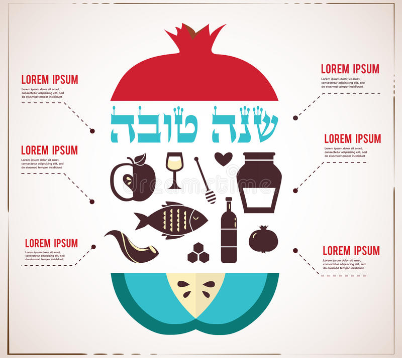 Infographics for Jewish New Year, hebrew happy new year, with traditional fruits vector illustration