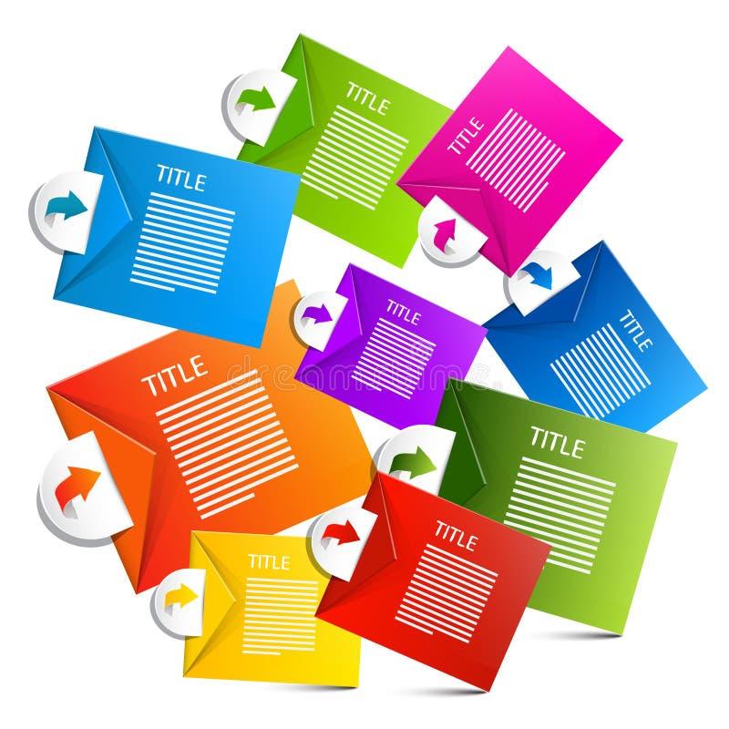 Infographics Kleurrijke Vectordocument Etiketten stock illustratie
